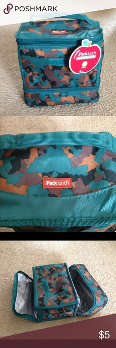 Brand new with tags insulated lunch cooler NWT. Zips at top and at bottom (to put in freezer packs or to keep things separate). Cool camouflage pattern Bags Travel Bags