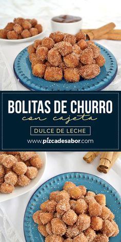 Bolitas de churro con cajeta. (Dulce de leche) Birthday Desserts, Köstliche Desserts, Delicious Desserts, Yummy Food, Mexican Food Recipes, Sweet Recipes, Snack Recipes, Dessert Recipes, Cooking Recipes