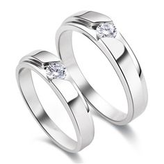 S925 Sterling Silver Mens Ladies Couple Promise Ring Wedding Bands Matching Set on Yoyoon.com. Make every day valentine's day!