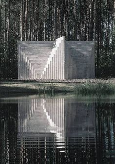 "Sol LeWitt: ""Double Negative Pyramid"", Europos Parkas Open Air Museum / Lithuania, 1999 / Composed of concrete blocks, the geometrical structure is metres high and 12 metres wide Sculpture Art, Sculptures, Double Negative, Art Et Architecture, Contemporary Architecture, Instalation Art, Carlo Scarpa, Parcs, Brutalist"