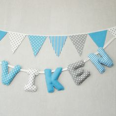 Fabric Letters, Name Banner, #Personalized #Kids, Baby Hanging #Name, Nautical Baby Shower, #Baby Shower #Gift, Baby Gift, Boy Garland for #Shower