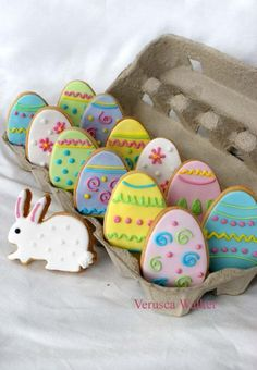 Easter Cookies by ~Verusca on deviantART. Love the presentation idea on these . Would make a lovely gift for grandparents #eastercookies