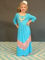 3/4 Sleeve Ocean Blue and Apricot Lace Dress