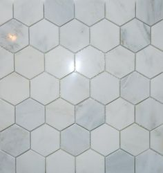 "2"" hex Carrara marble floor"