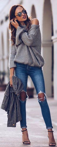#spring #fashion /  Grey Off Shoulder Knit / Destroyed Skinny Jeans / Black Sandals