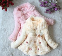 Faux fur lace flower embellished winter fall coat jacket sweater Birthday girls kids christmas wedding birthday for 2, 3, 4, 5 years old on Etsy, $69.99