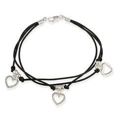 Sterling Silver Heart Charms & Beads on Leather Cord Bracelet