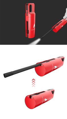 The 'Aim Fire Extinguisher' offers an entirely new way of fighting fire, specialized for tight spaces, its extendable nozzle can get right to the root of the fire or even be used to get between crevices... READ MORE at Yanko Design !