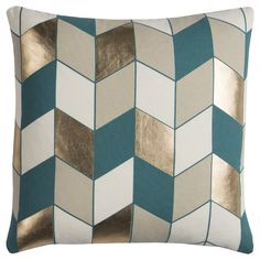 Rizzy Home Rachel Kate Geometric III Foil Printed Throw Pillow – turquoise accent pillow Teal Throw Pillows, Outdoor Throw Pillows, Accent Pillows, Gold Pillows, Geometric Throws, Geometric Pillow, Pillows Online, Teal And Gold, Teal Blue