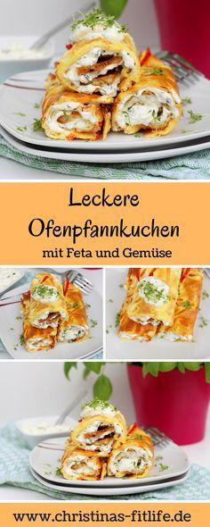 Warum immer Pfannkuchen sueß essen? Diese herzhaften Ofenpfannkuchen mit Feta und Gemuese schmecken mindestens genauso gut!