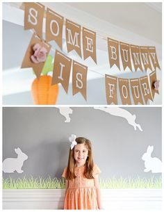 Banner + Decor from a Bunny Birthday Party via Kara's Party Ideas Easter Birthday Party, Bunny Birthday, 4th Birthday Parties, Birthday Party Decorations, Girl Birthday, Birthday Banners, Birthday Bash, Birthday Ideas, Birthday Cards
