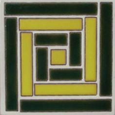 Cuerda Seca decorative tile: green yellow square