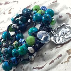 Crochet Bohemian Necklace Boho Chic Gypsy Style Long Necklace Blue Green Turquoise Gemstone Artisan Jewelry Original by Kyleemae Design by kyleemaedesigns on Etsy