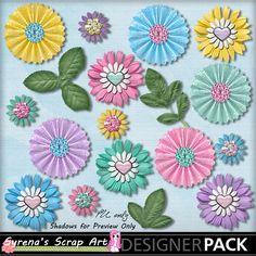 Digital Scrapbooking  Spring Sweeties Flower Pac