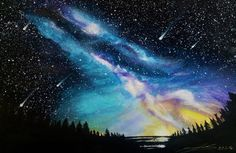 Starry night unicorn, watercolour and chalk pastel on A4 watercolour paper. For…
