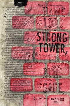 Bible journaling, Proverbs 18:10 — Arden Ratcliff-Mann #illustratedfaith