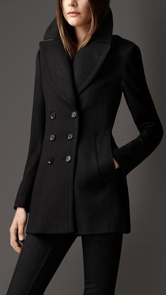 Burberry Wool Cashmere Pea Coat with Black Skinny Pants, pair with Pointed-Toe Heels OR Flats.