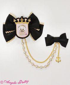 Angelic Pretty: Charlotte's Bear Badge Ribbon Brooch in black