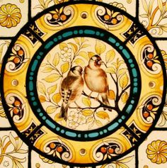 Detail of Victorian painted and stained Birds & Blossom panel By Heaton, Butler & Bayne via Tomkinson Stained Glass