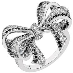 black and white diamond, white gold bow ring, chanel