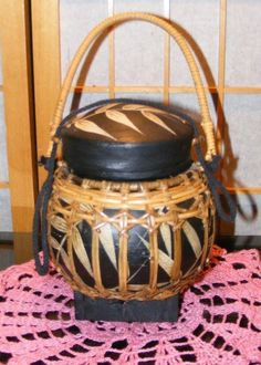 "UNIQUE Round Chinese Wedding Basket 7"" tall 6"" wide Made of Woven Bamboo"