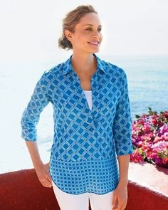 Coldwater Creek Lattice No Iron Tunic Size XL 16 NEW NWT Blouse Top Blue  #ColdwaterCreek #Tunic #Casual