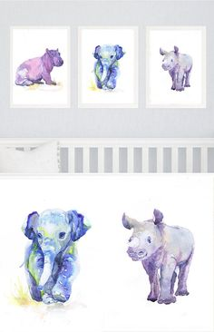 Baby Animals Nursery Set of 3 prints Watercolor by ValrArt on Etsy