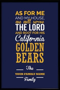 California Golden Bears Christian Family Wall Print - Customizable Family Name on Design - Perfect Family Gift! Use FATHERSDAY15 coupon code for Free shipping within US! #inspirational #quote #poster #mancave #fathersday #gift