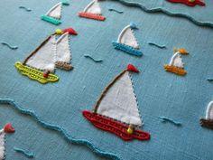 GAY HARBOR Vtg MARGHAB Madeira Hand Embroidery 8 Linen Cocktail Napkins CHEERFUL #Marghab