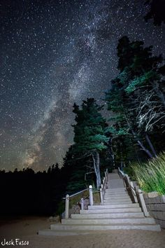Starry Stairway - Acadia National Park, Maine. Visit Fort Bragg Leisure Travel Services for information.