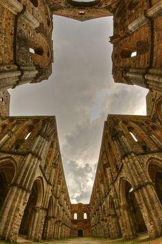 The cross, The Abbey of San Galgano, Province of Siena, Tuscany region Italy by…
