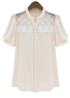 Light Pink Short Sleeve Button Fly Summer Blouse