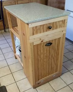 Small Kitchen Island - trash bin built in