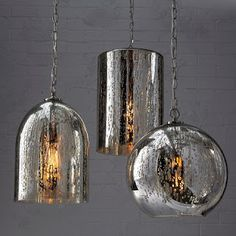 Chrome pendant Mercury lights - hard to go wrong when you're adding a metallic element! Hanging Lights, Wall Lights, Ceiling Lights, Island Pendant Lights, Pendant Lighting, Chandeliers, Glass Light Globes, Silver Paint, Globe Pendant