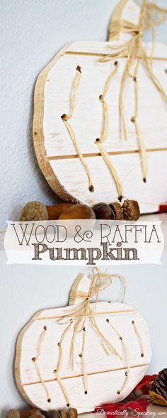 DIY Wood and Raffia Pumpkin... Fall decor