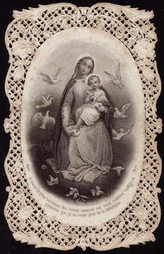 Paper lace holy card - Madonna and Child