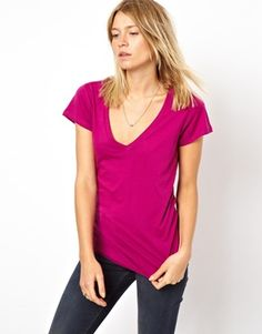 ASOS T-Shirt with V Neck (Pink or White) $18.48