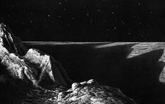 Lucien Rudaux. Views from the surface of the Moon, c. 1900.