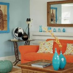 Orange And Turquoise Living Room! Part 55