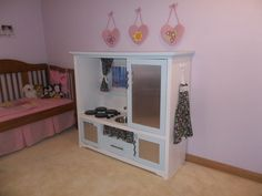 child's play kitchen before and after | Children's Kitchen from refurbished entertainment center.