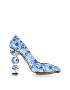 Charlotte Olympia Designer Shoes Ming Blue Koi Print Patent Leather Court Pump