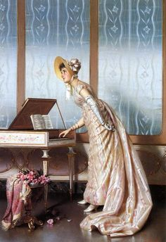 Vittorio Reggianini (italian painter, - The spinet Italian Paintings, Classic Paintings, Beautiful Paintings, Victorian Paintings, Stoner Art, Decoupage, Historical Art, Pretty Art, Woman Painting