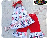 Custom Boutique Clothing Girl ANCHOR OUTFIT Fourth 4th of JULY Halter Top Pant Set Pageant 3 6 9 12 18 24 Month Size 2t 3t 4t 5t 6 7 8