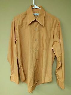 Vintage 70s Kmart Permanent Press Sanforized Long Sleeve Dress Shirt Peach