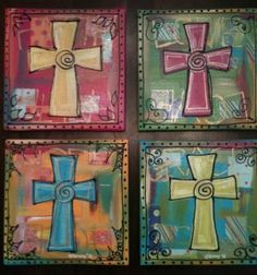 Cross Paintings  I would love to do a small group decopauged with hymns