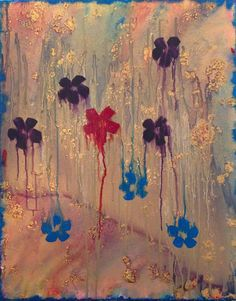 Joey- Large, Semi Abstract, Flower, Acrylic, Painting, Gilded, Elegant, Cerulean Blue, Blue, Red, Gold, Purple, Original, Happy Floral Art