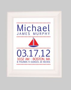 Birth Announcement, Nautical Nursery, Personalized Childrens, Baby Name Print, Nursery Art Prints, Art for Nursery, Birth Stats 8x10. $18.00, via Etsy.