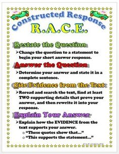 This bundle includes: RACE Constructed Response Strategy Poster RACE Constructed Response Strategy Poster on 1 page) RACE Constructed Response Strategy Bookmarks The posters and bookmark shows the steps of how to solve a constructed response questions. Races Writing Strategy, Race Writing, Writing Strategies, Teaching Writing, 8th Grade Writing, Writing Process Posters, Constructed Response, Text Evidence, Instructional Strategies