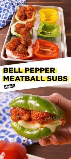 Bell Pepper Meatball Subs Are A Low Carb Dream Come True[sub: crushed pork rinds for bread crumbs? Coconut oil for olive]