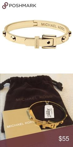 """Michael Kors Gold Astor Buckle Bangle Authentic  Edgy studs and a decorative buckle detail make a polished pairing on this high-shine bangle from Michael Kors. gold plated steel Imported 2.25"""" diameter Hinge closure Michael Kors Jewelry Earrings"""